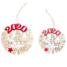 2pcs 2020 Letter Christmas Pendant Hollow Tree Hanging Ornament Wooden Crafts Party Decorative Accessories Kids Gift