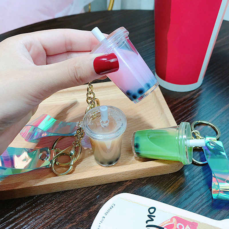 Key Pendant Pearl Milk Tea Key Chain Simulation Drink Small Pendant Bag Pendant Keychain Key Ring