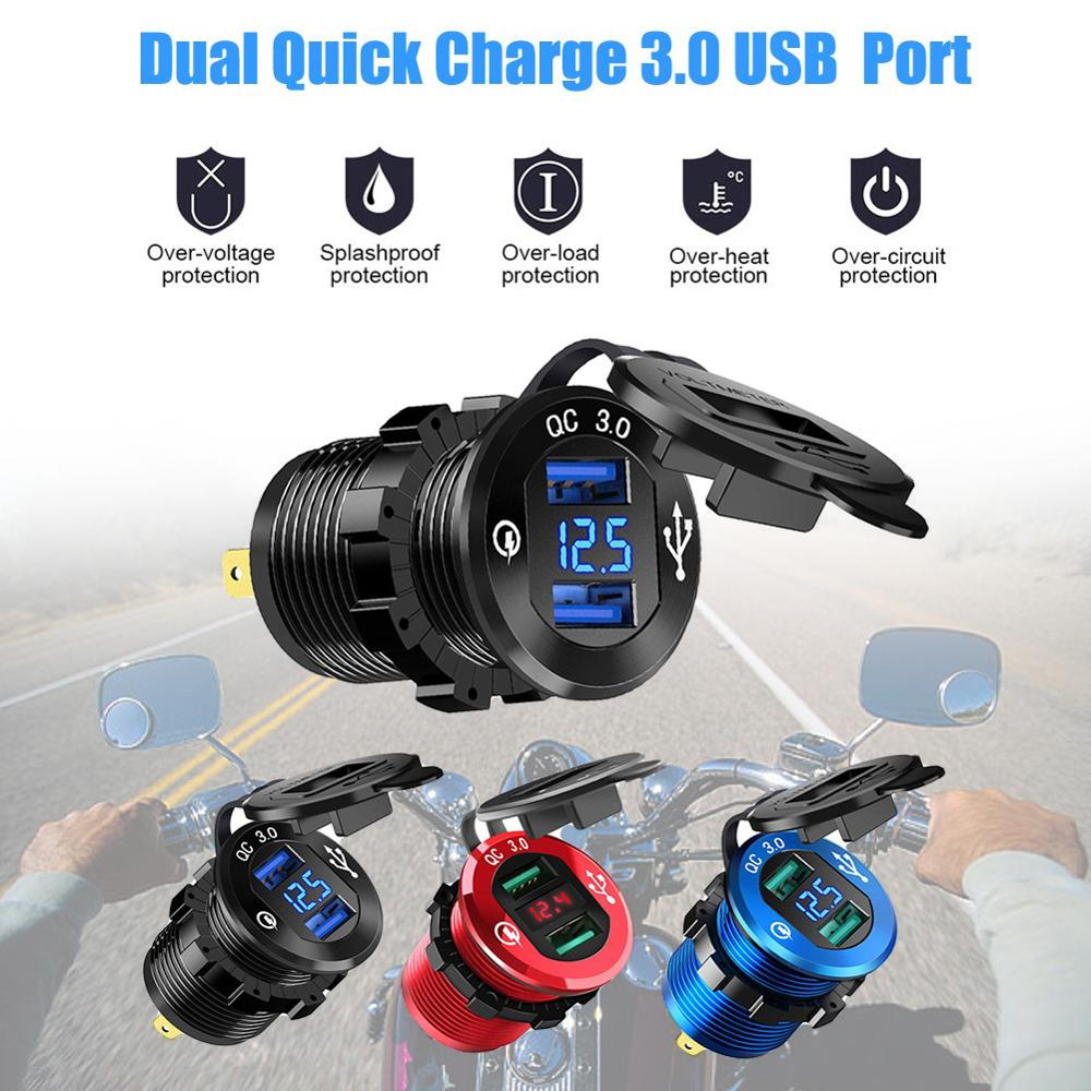 12V/24V Quick Charge 3.0 Dual USB Charger Socket Waterproof Aluminum Power Outlet Fast Charge With LED Voltmeter For Car Boat
