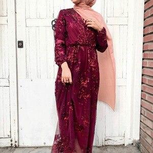 Image 5 - Luxe Moslim Borduurwerk Abaya Kant Pailletten Volledige Avondjurk Party Kimono Vestidos Lange Gewaad Toga Jubah Eid Ramadan Islamitische