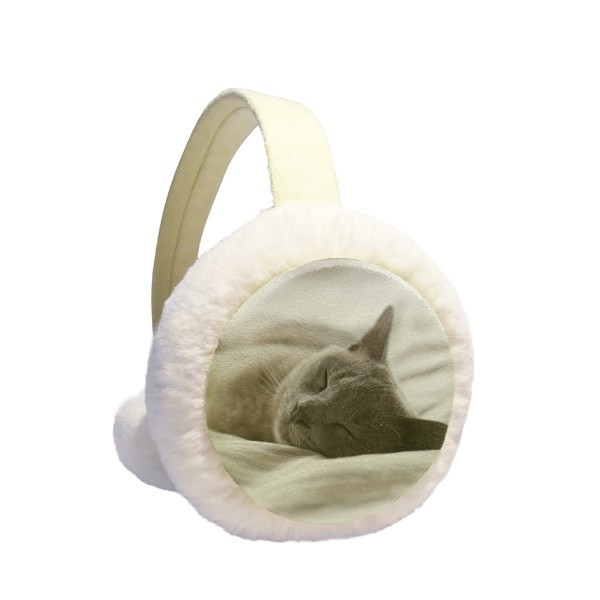 Animal Cute Gray Cat Photograph Shoot Winter Earmuffs Ear Warmers Faux Fur Foldable Plush Outdoor Gift