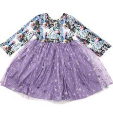 Venda quente manga longa meninas dos desenhos animados personagem vestido boutique bonito moda de alta qualidade crianças twirl vestido