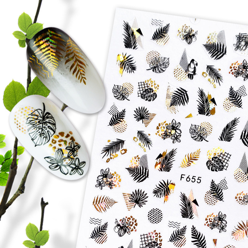1pc Summer Glitter Nail Decals Stickers Gold Black White Leaf Manicuring Foils Geometric Slider Nail Art Adhesive Decor