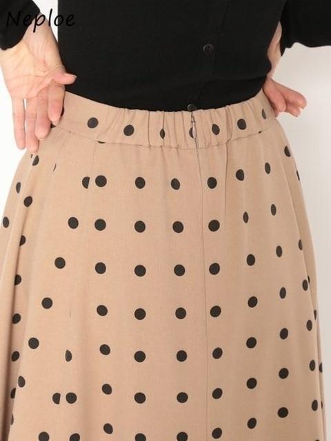 Neploe Elegant French Style Chic Polka Dot Women Skirts 2021 Autumn Winter New All-match Jupe High Waist Zip A-line Femme Skirt 3