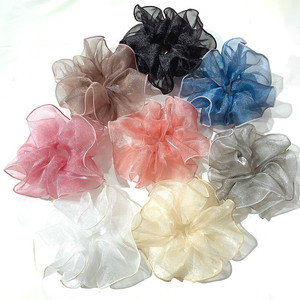 Women Multi Color Shiny Oversized Organza Gauze Hair Scrunchies Wide Solid Hair Bands Fantastic Flower Shape Ponytail Big Ropes