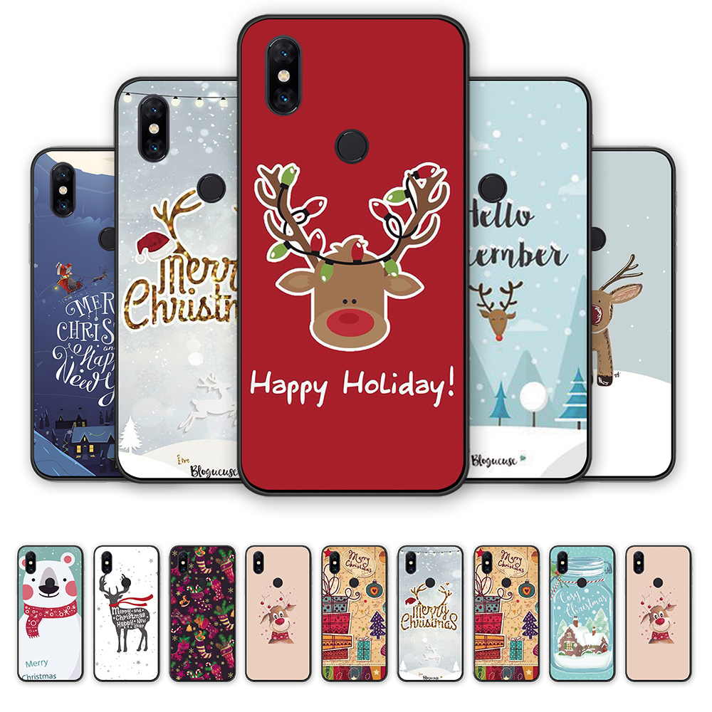 XiaoMi <font><b>Mi</b></font> 5 5X 5C 5S 4 6X <font><b>8se</b></font> 8Lite A3 Lite Merry Christmas Deer soft TPU <font><b>cases</b></font> for Xiaomi Play mix2 mix2S mix3 CC9 CC9E F1 <font><b>Case</b></font> image