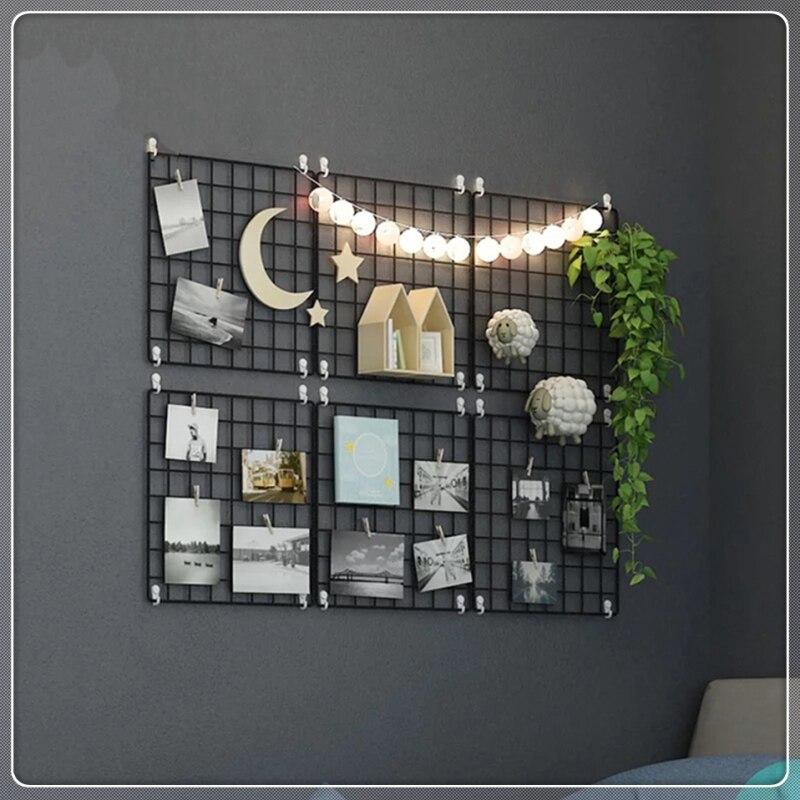 Marco de fotos de decoración de rejilla de Metal de hierro multifunción, estante de almacenamiento de malla para exhibición de arte de pared, soporte de estante organizador + 10pcs Clips de madera