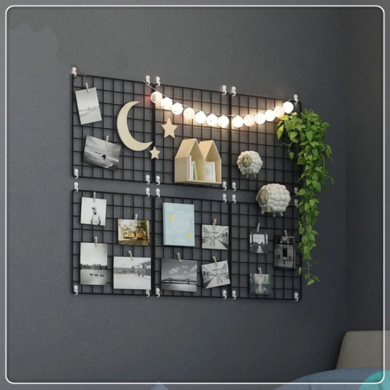 Multi-Function Iron Metal Grid Decor Photo Frame Wall Art Display Mesh Storage Shelf Organizer Rack Holder + 10pcs Wooden Clips