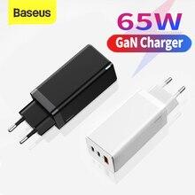 Chargeur de voyage Baseus GaN 65W Charge rapide 4.0 PD Charge rapide chargeur de voyage FCP pour Macbook Pro pour iPhone 11 X XS Huawei Mate20