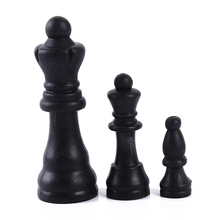 Chess-Pieces Plastic Medieval Entertainment International Complete Black White 31mm Word