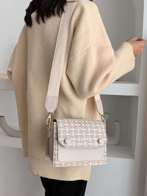Elegant Female Flap Square Bag 2019 Winter Fashion New High Quality Woolen Women's Designer Handbag Contrast color Shoulder Messenger Bag