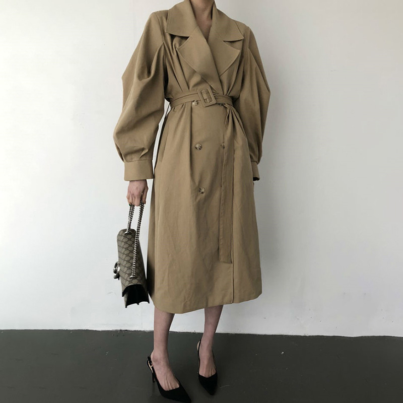 Trench   Coat Women Belt Waist Windbreaker Autumn Winter Double Breated Oversize Long Coat Lady Streetwear Korean Outwear V542