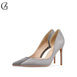GOXEOU Women's Pumps Flock D'Orsay 5 Colour Pointed Toe 6 8 10 CM High Heels Party Fashion Office Lady Shoes Size 32-46