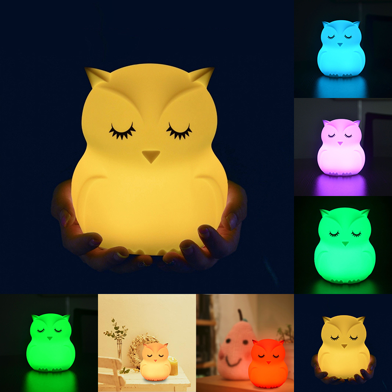 7 Colors Silicone Owl Shape LED Night Light Battery Power Touch Sensor Pat Light Baby Nursery Lamp Bedroom Home Decoration