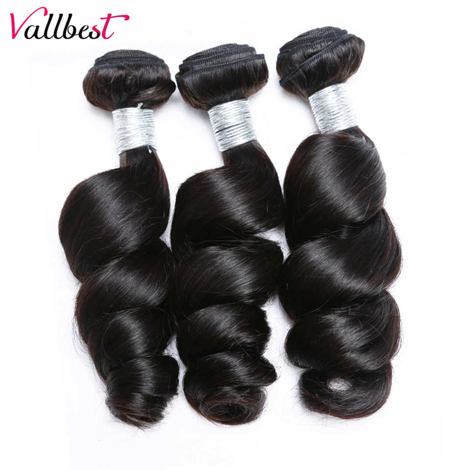 Vallbest Brazilian Hair Weave Loose Wave Bundles Human Hair Extension #1B Natural Black #1 Jet Black Color Non-Remy 100g/Piece