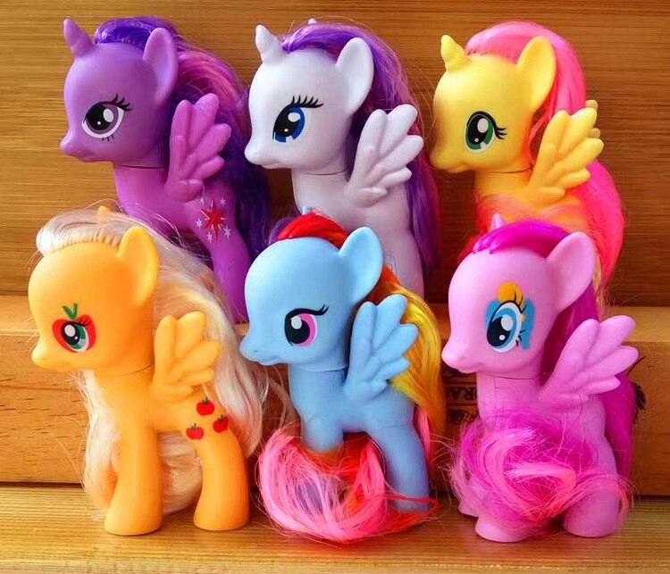 6 pièces/ensemble 8*3*5 CM Anime licorne animaux arc-en-ciel cheval PVC figurines