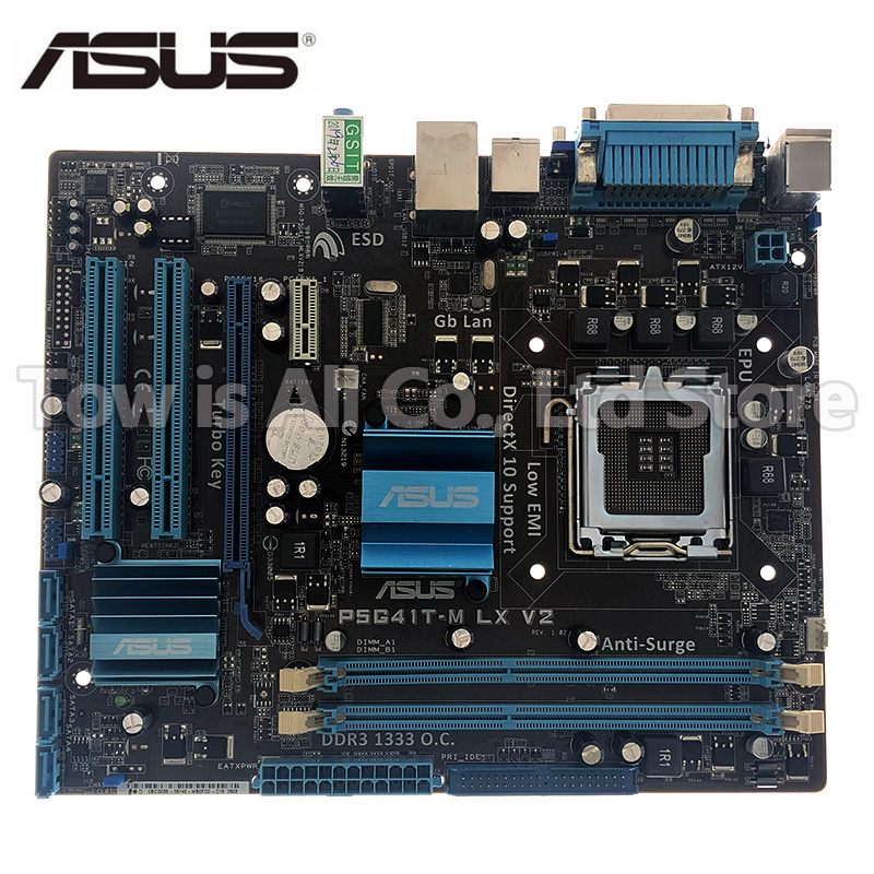 Original Motherboard For ASUS P5G41T-M LX V2 DDR3 LGA 775 USB2.0 VGA SATA II 8GB G41 USED Desktop Motherboard