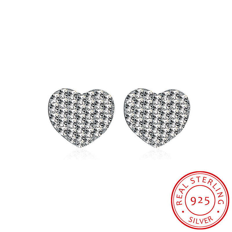 Crystal Zircon Heart Stud Earrings 925 Sterling Silver Fashion Collection For Women Girls Jewelry Accessories Birthday Gift
