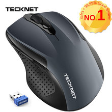TeckNet Pro 2.4GHz Wireless Mouse Nano Receiver Ergonomic Mice 6 Buttons 2400DPI 5 Adjustment Levels for Computer Laptop Desktop tecknet ergonomic 2 4ghz cordless mouse 4800dpi optical computer wireless mice usb nano receiver 6 adjustment levels 6 buttons