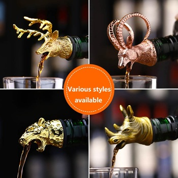 Zinc Alloy Deer Stag Head Wine Pourer Unique Wine Bottle Stoppers Wine Aerators Bar Tools Get Together Gift creative dispenser for wine jagermeister zinc alloy deer head mouth reindeer pourer european wine extractor silver pourers