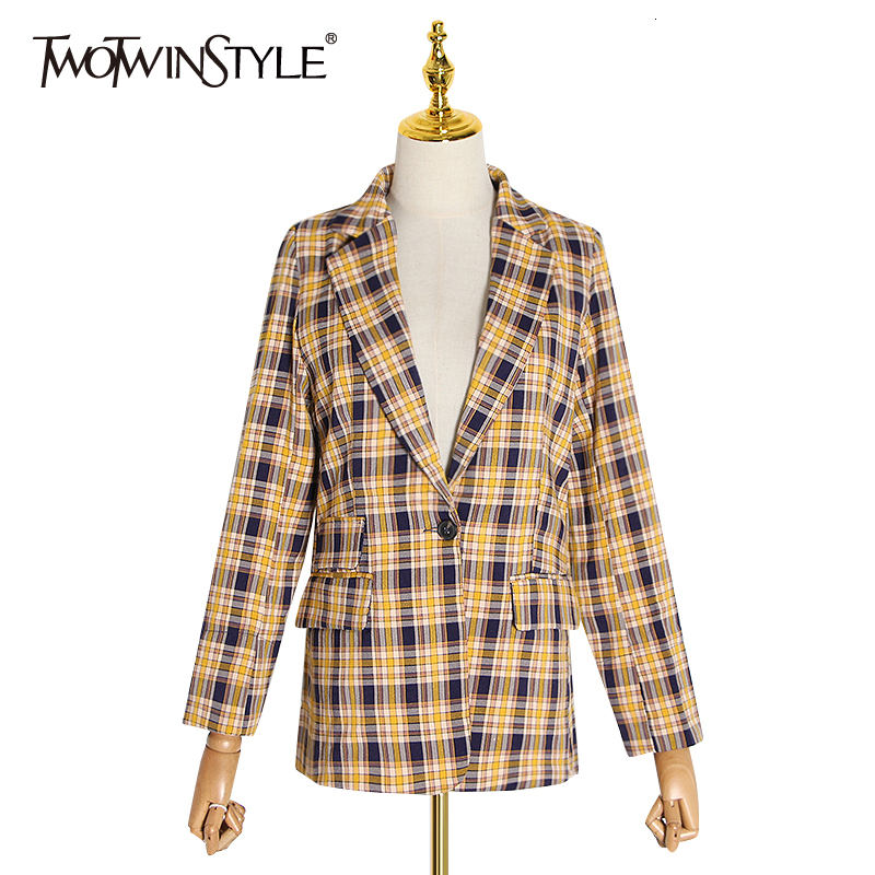 TWOTWINSTYLE Casual Plaid Women's Blazers Notched Long Sleeve Slim Hit Color Suits For Female 2019 Autumn Fashion Clothing Tide