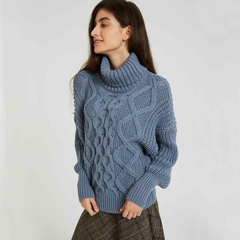 Wixra Womens Sweaters 2019 Autumn Winter Tops Turtleneck Sweater Women Thick Warm Pullover Jumpers Knitted Sweater