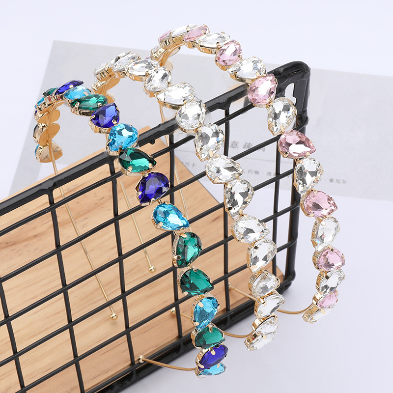 Find Me Color Glass Rhinestone Headband for Women Geometric Alloy Simple Hair Band New Spring Hair Jewelry Accessories Wholesale