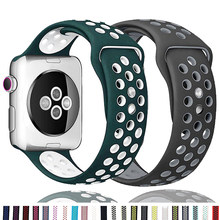 Silikon Strap Für Apple Uhr band 44mm 40mm 38mm 42mm Atmungsaktiv handgelenk gürtel Sport armband iWatch serie 6 SE 5 4 3 40 42 44mm
