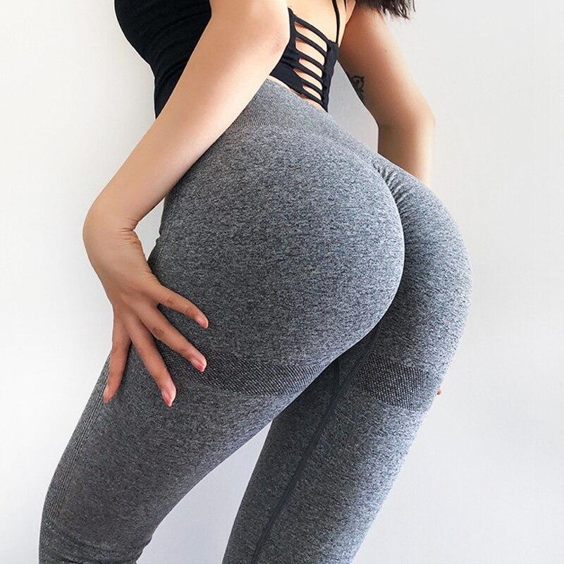 Бесшовные леггинсы с высокой талией Йога брюки пуш-ап леггинсы для Для женщин Фитнес бег приседания доказательство эластичные облегающие д...