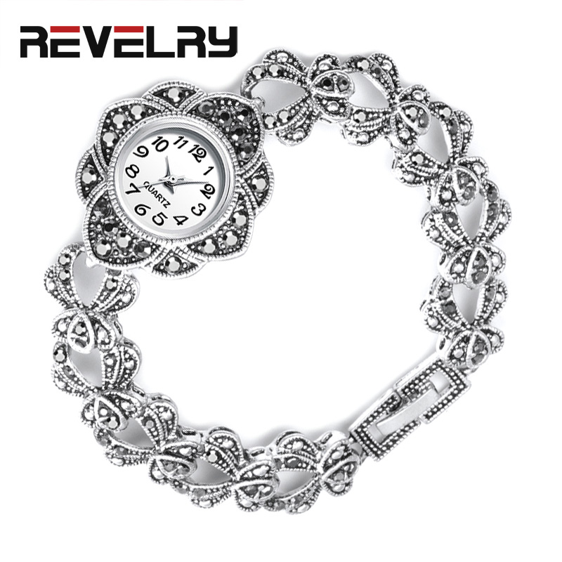 REVELRY Luxury Antique Silver Wrist Watch Turkish Rhinestone Bracelet Watches Women Vintage Geneva Designer Quartz Watch Womens
