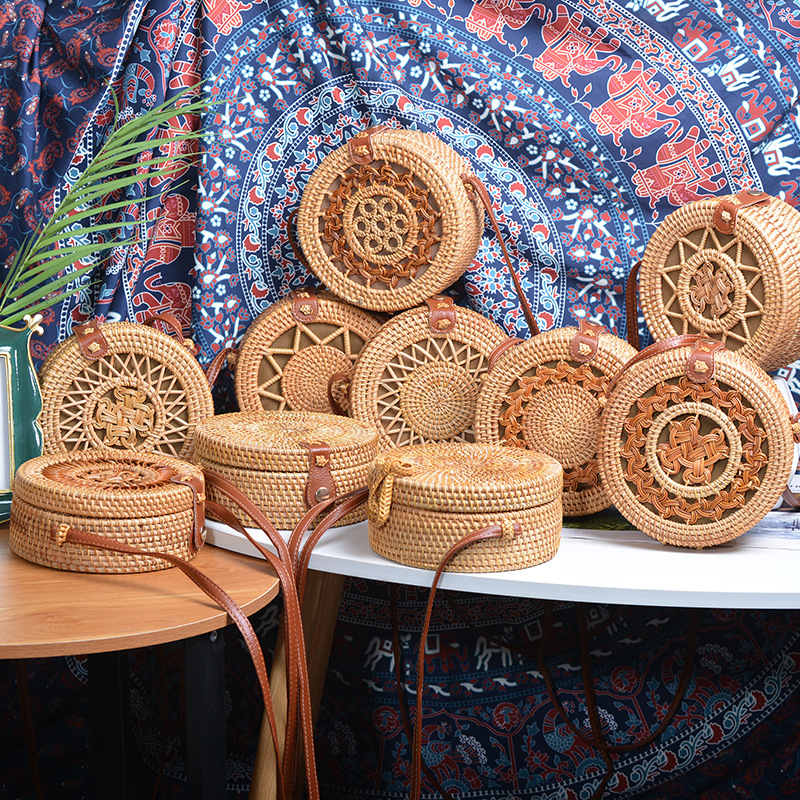 Women ins  hand-made rattan five point star PU leather buckle bag Cross Body Bag Circle Bohemia Handbag Bali female bags Сумка