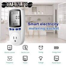 Wattmètre numérique LCD 220V AC EU, 16A, Portable US, mesure de la puissance, prise, Kwh, analyseur d'énergie blanc