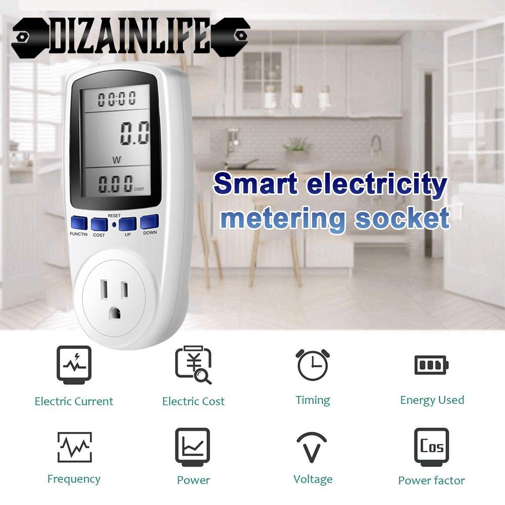 220V AC de la UE Digital medidor de potencia LCD 16A portátil nosotros de salida vatímetro hembra de potencia Kwh de energía Analizador de potencia blanco