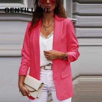 Gentillove Elegant Long Sleeve Turn-down Collar Blazer Office Lady Formal Slim Coats 2020 Women's Demi-season Jacket Overcoats 1