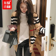 Han edition loose cardigan sweater sweater female striped blouse