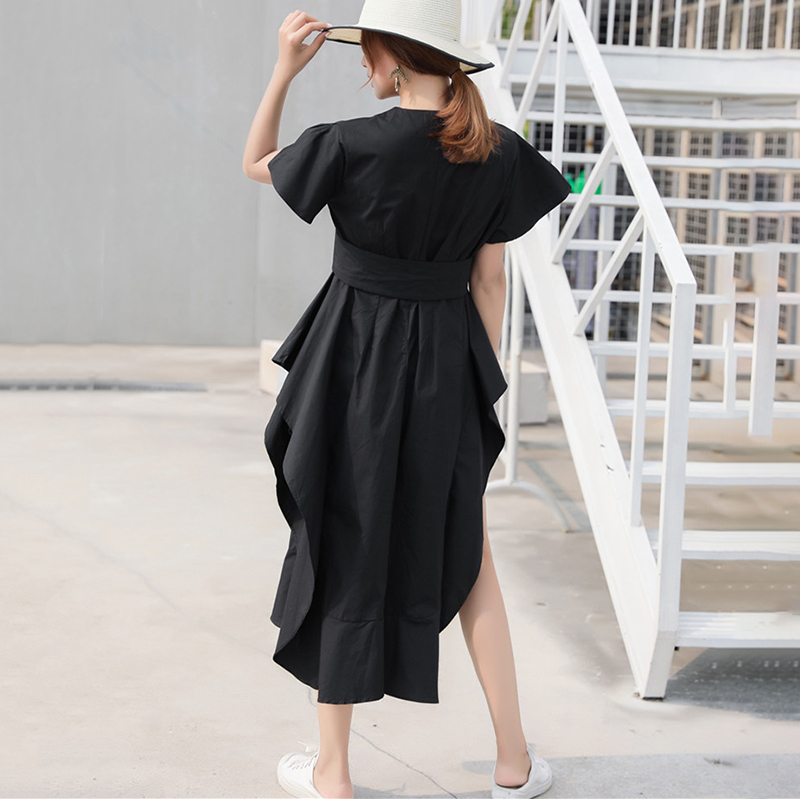 New Fashion Style Loose Ruffles Side Vent Loose Temperament Dress Fashion Nova Clothing