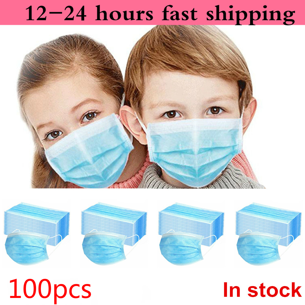In Stock 100pcs Children's Mask Disposable Protective Face Masks Anti-bacterial Dustproof Mouth Mask for Kid Health Elastic Mask