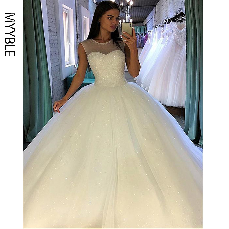 MYYBLE Shining Sequin Tulle Jewel Neckline Ball Gown Wedding Dress With Beadings Sleevelss Bridal Gowns Vestido De Festa Longo