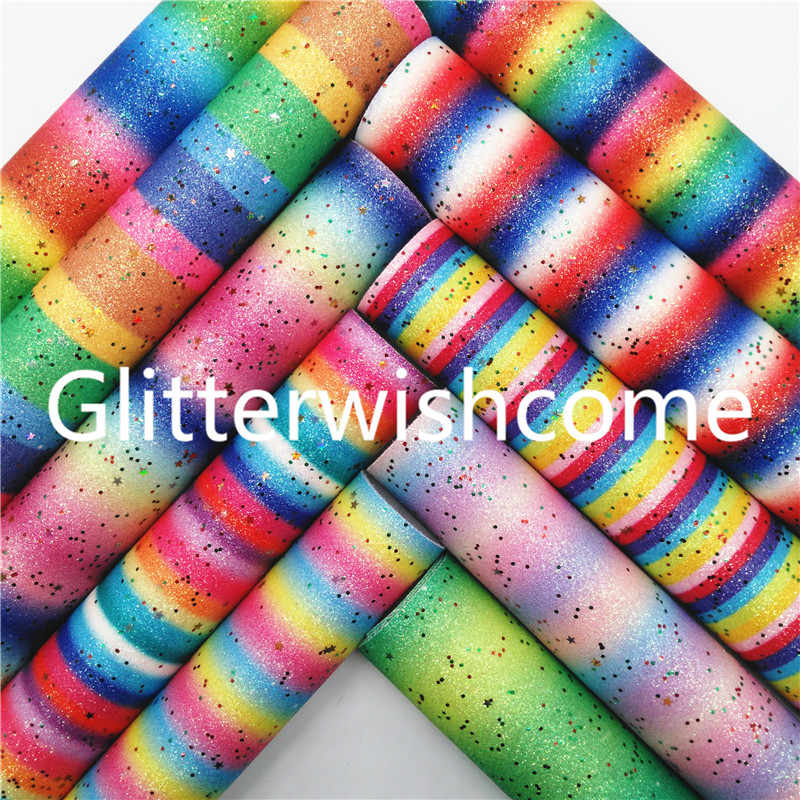 Glitterwishcome 21X29CM A4 Size Rainbow Printed Glitter Fabric with Stars, Glitter Vinyl for Bows, GM782A