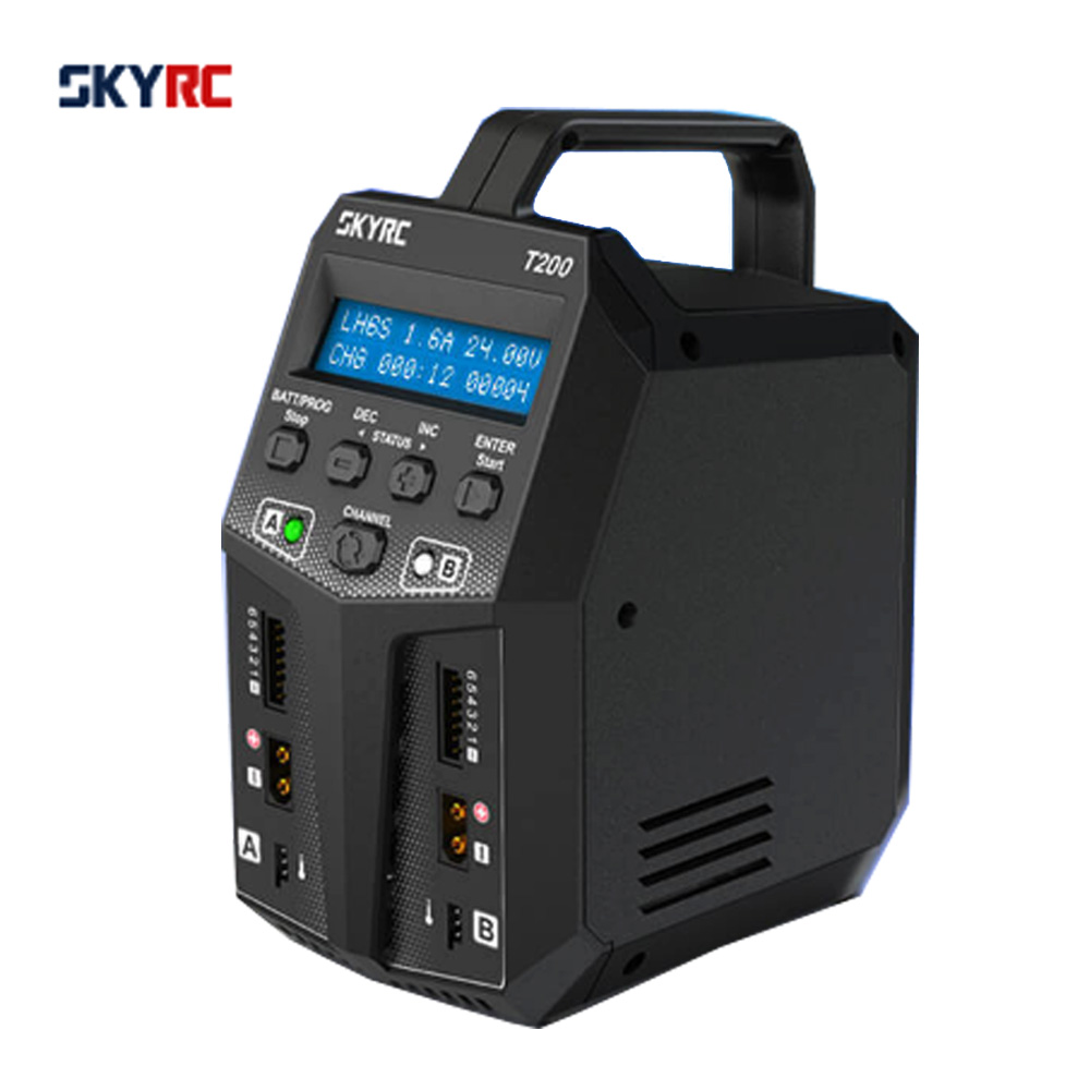 SKYRC T200 Balance Charger 12A 100W Dual XT60 Plug 10W Discharger for LiHV LiPo Li-ion LiFe NiMH NiCD Pb Battery AGM Cold Modes