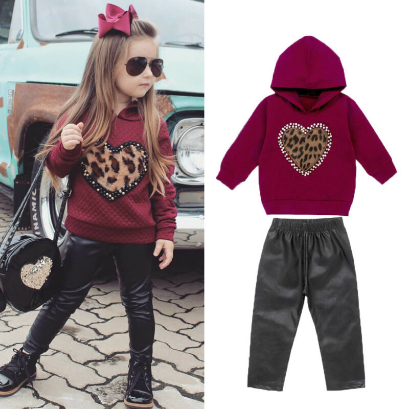 >Kids Baby Girl Autumn Clothes Leopard Heart Hooded Tops black <font><b>leather</b></font> <font><b>Pant</b></font> <font><b>Outfit</b></font> TracksuitPants <font><b>Outfit</b></font> SweatShirt