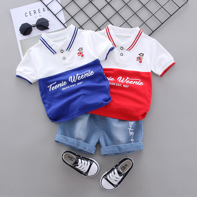 Summer Fashion Casual Newborn Baby Boys Toddler Cloth Patchwork Short Sleeve Tops Shorts 2Pcs/sets Cotton Kids Outfits Clothing