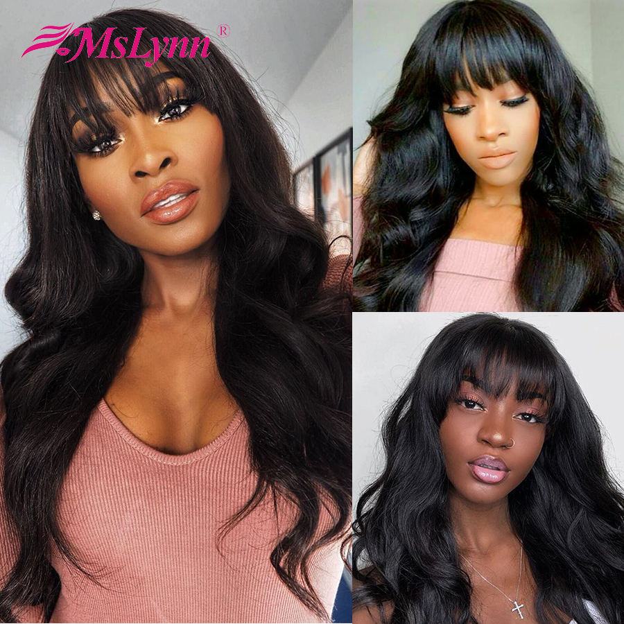 Lace Front Human Hair Wigs With Bangs body wave 13x4 Lace Front Wig Pre-Plucked With Bangs Brazilian Remy Wig For Black Women