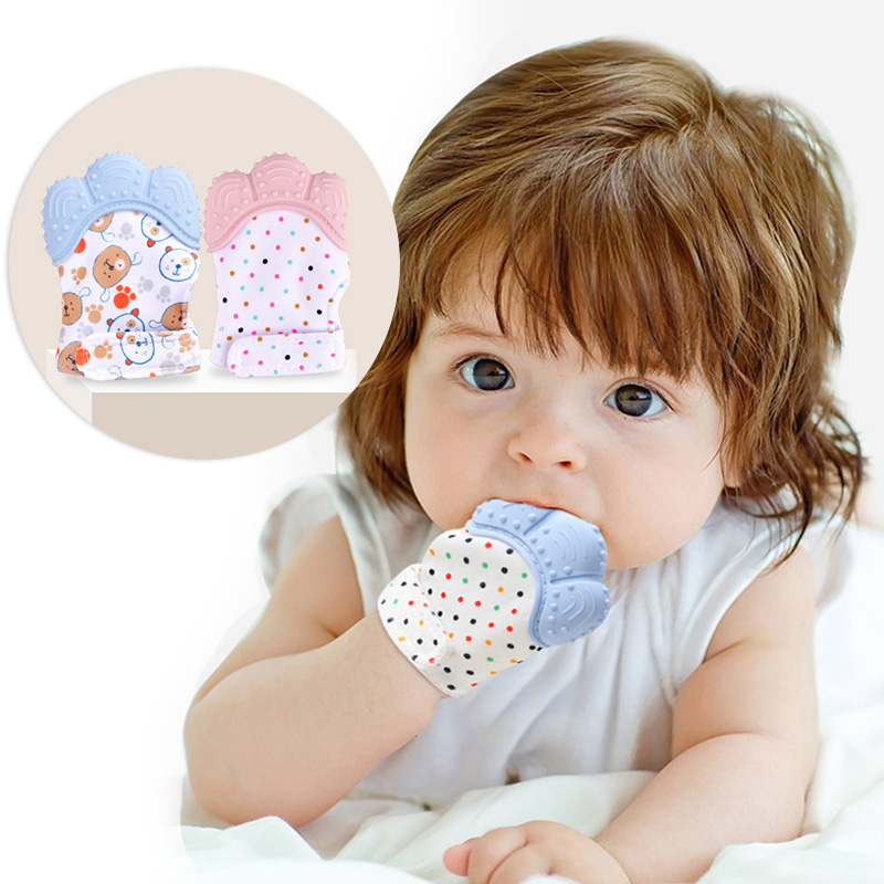 Baby Silicone Mitts Teething Mitten Gloves Sound Teether Newborn Chewable Nursing Mittens Teether Natural Stop Sucking Thumb Toy