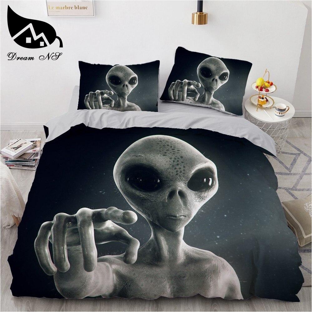 Dream NS Digital Sci-fi Alien Print Bedding Home Textiles Set Queen Bedclothes Duvet Cover Pillowcase Bedding Sets