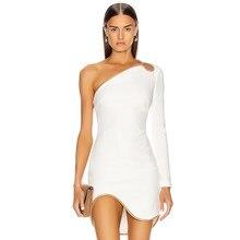 Adyce 2021 novo inverno branco um ombro manga longa bodycon bandage vestido sexy feminino mini clube celebridade runway vestidos de festa