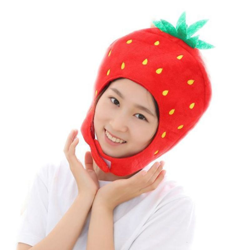 Japanese Sweet Women Girls Funny Strawberry Plush Hat Embroidery Fruits Hood Cap Mask Party Cosplay Costume Photo Props Toys
