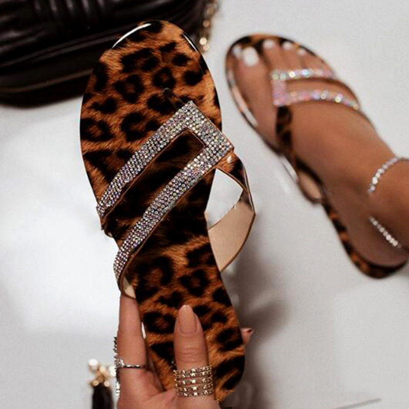 Summer Women Sandals Leopard Print Lady Fashion Rhinestones Plus Size 35-43 Shallow Mouth Flat Solid Fish Mouth Sandals Shoes