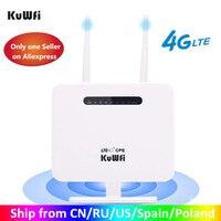 KuWFi 4G Router Sim Card 300mbps sbloccato 4G CPE Router Wireless 150mbps CAT4 Hotspot Wifi Mobile con Slot per schede Sim 4 porte LAN