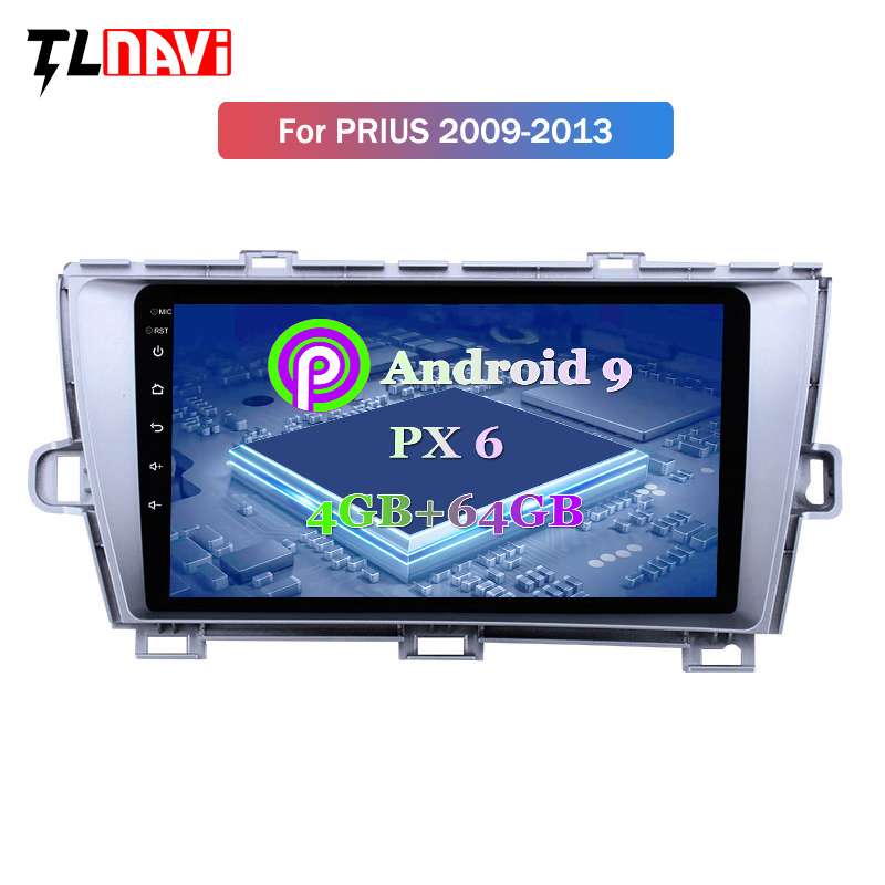 PX6 4G+64G Android 9.0 GPS Navigation Radio For 2009-2013 Toyota Prius LHD RHD With Bluetooth USB WIFI